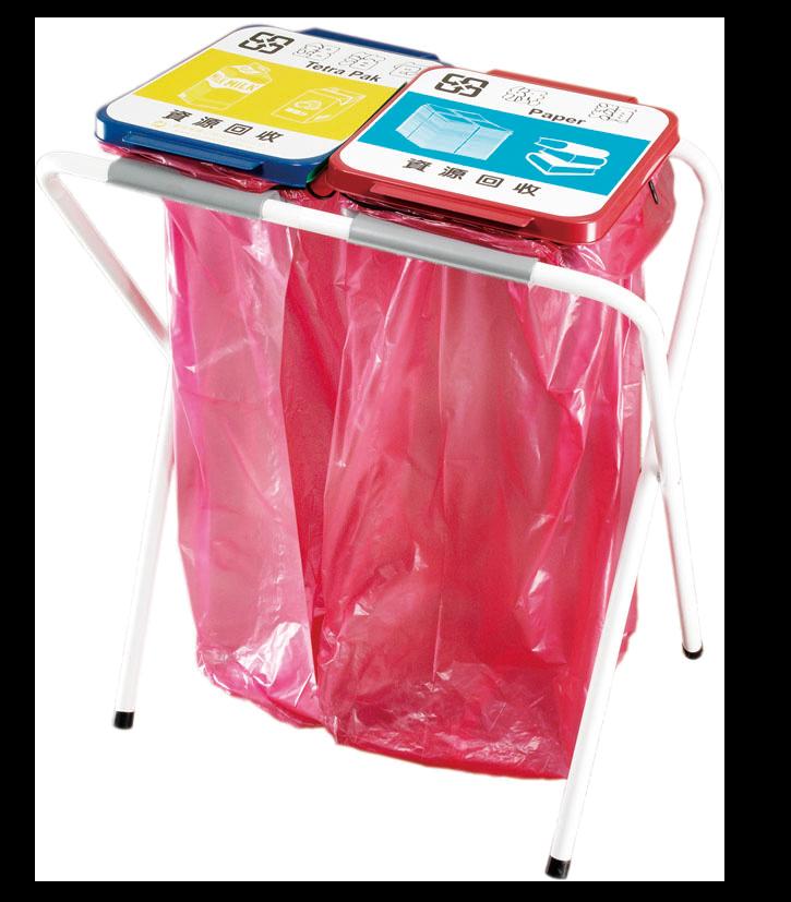 台灣製 二分類回收架MY-2015 清潔箱 垃圾桶 回收桶 分類桶 清潔 公園 街道 捷運 車站 公共空間