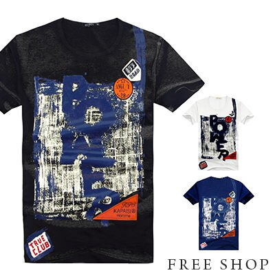 Free Shop~QR10230~ 拼接皮革車標POWER塗鴉印花圓領棉質短T短袖上衣‧