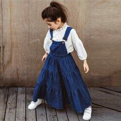 大裙擺牛仔背帶裙   吊帶裙 大童 寬褲 吊帶褲 大童 橘魔法Baby magic 現貨 親子裝 牛仔長裙