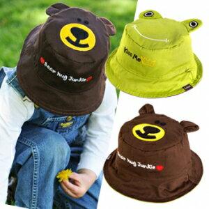小烏龜精品童裝店:UPF50+高防曬指數‧保護細緻肌膚Flapjackkids雙面遮陽帽-小青蛙小熊