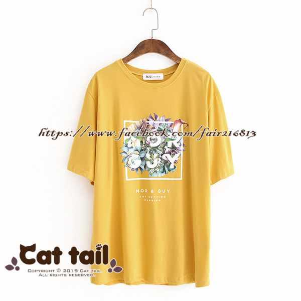 《貓尾巴》LZ-03071休閒字母印花圓領短袖上衣(森林系日系棉麻文青清新)