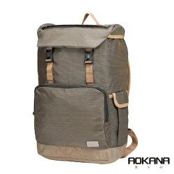 【AOKANA奧卡納】電腦後背包 超輕量 防潑水 商務後背包(鐵灰棕68-092)【威奇包仔通】