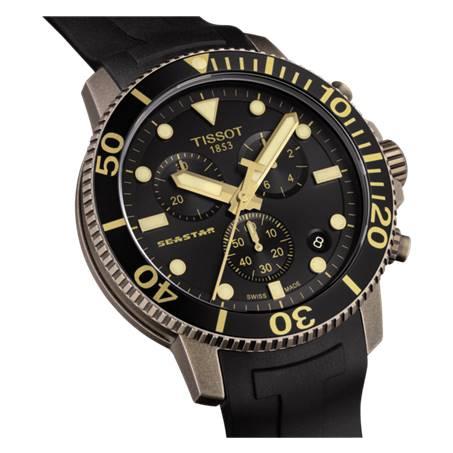 TISSOT 天梭 T1204173705101 Seastar海星300米潛水錶 黑 金 46mm 3