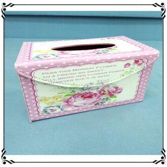 掀蓋磁扣面紙盒《LD42》鄉村風 粉嫩玫瑰皮革面紙盒 紙巾盒 收納盒 新居落成◤彩虹森林◥