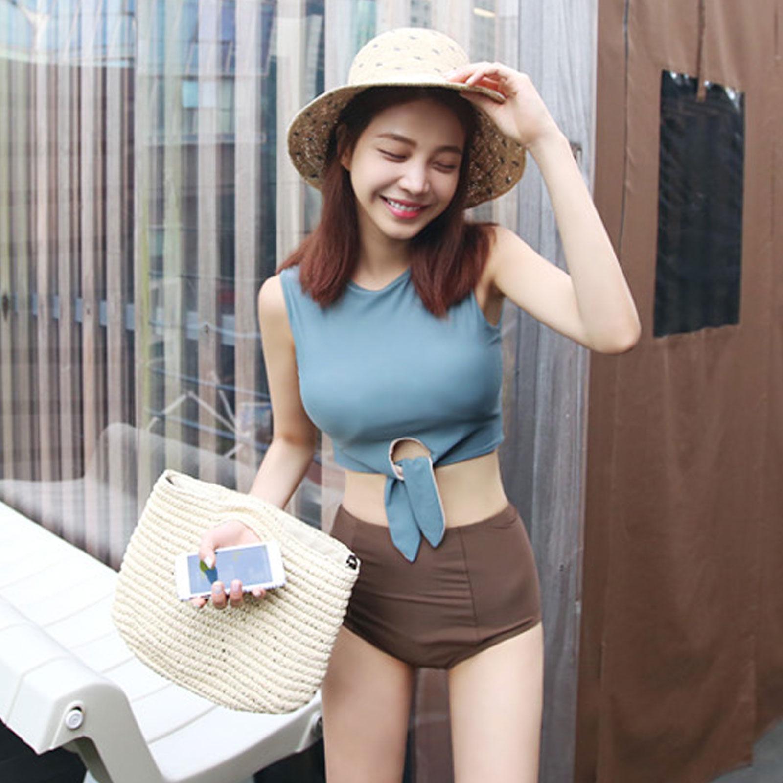 泳衣 韓國復古高腰綁帶兩件式泳裝【O3393】☆雙兒網☆ 1