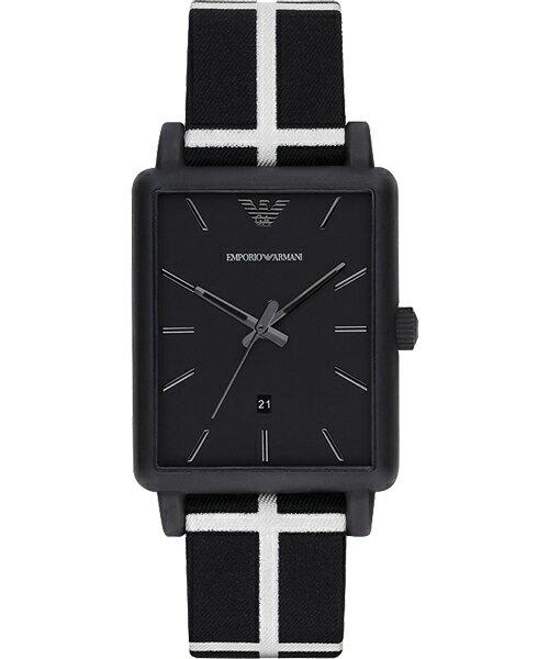 EMPORIO ARMANI/AR1857黑白方形時尚腕錶/黑面41*33mm