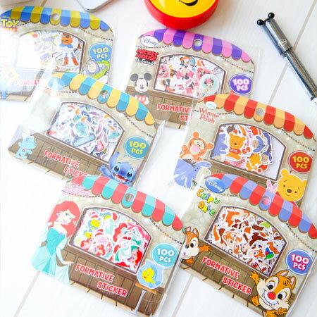 正版迪士尼顆粒貼紙包 貼紙包 貼紙 米奇米妮 奇奇蒂蒂 史迪奇 小美人魚 維尼 玩具總動員【B062688】