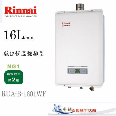 林內牌-RUA-B-1601WF-原廠16公升數位恆溫強制排型熱水器