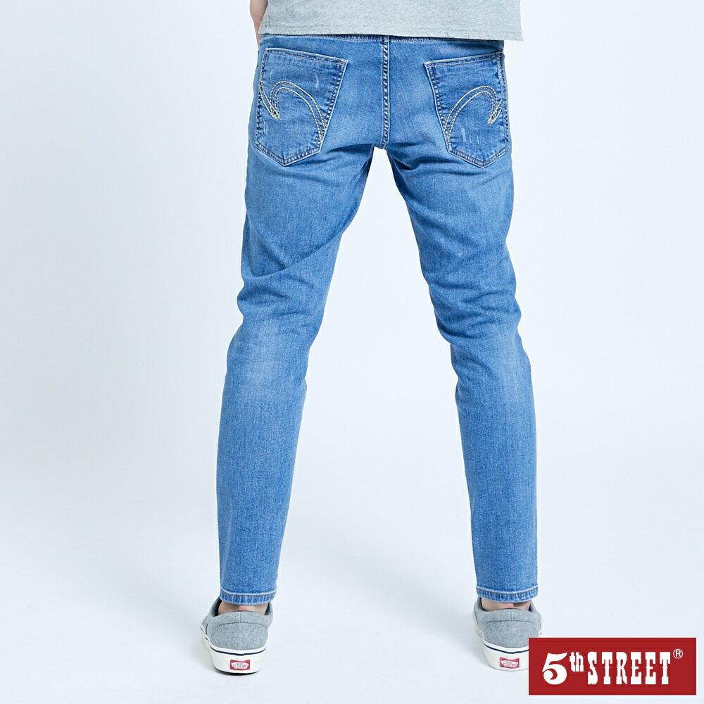 母親節禮物首選 | 【5th STREET】男潮流小腳窄直筒褲-拔淺藍(瞬乾極棉)