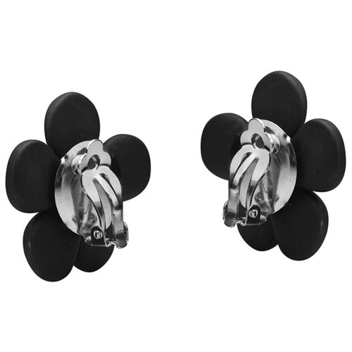 Adorable Daisy Black Onyx&Pearl Flower Clip On Earrings 2