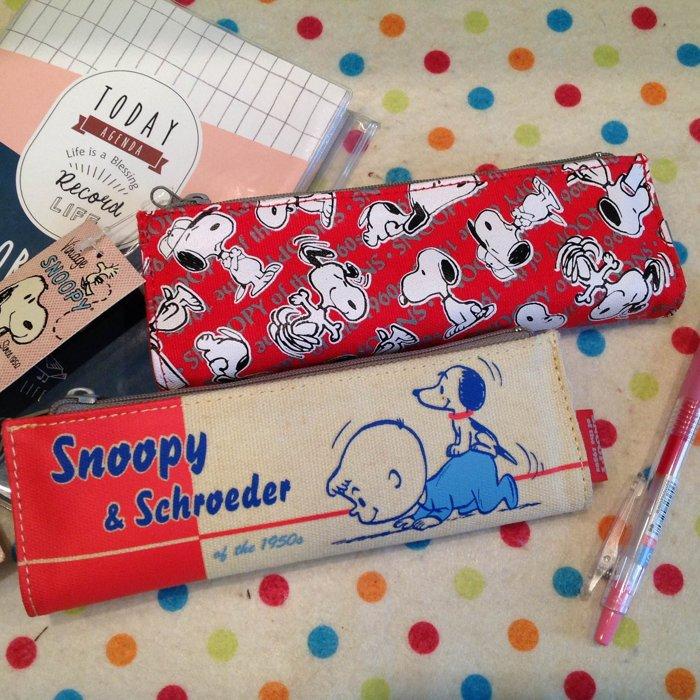 =優 =~日貨 ~ 史努比Snoopy  Schroeder雙層雙面拉鍊筆袋 化妝包 收納