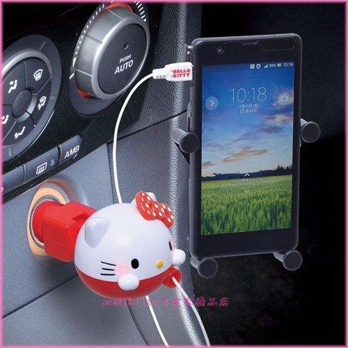 asdfkitty可愛家☆KITTY紅點汽車用micro USB智慧型手機 車用充電器-三星 HTC SONY-正版