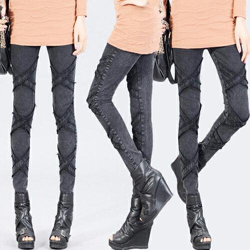 牛仔長褲 - 鬆緊腰立體X型壓線彈力窄管牛仔褲【23296】藍色巴黎 《M~XL》現貨+預購 1