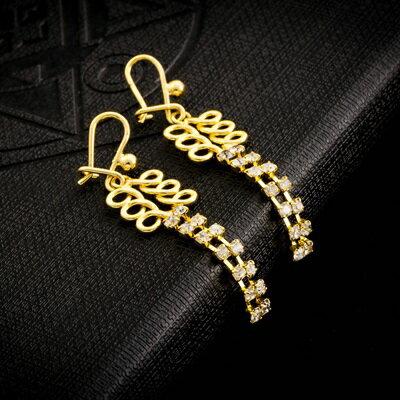純銀耳環鍍18K金鑲鑽耳飾~ 簡約好搭七夕情人節 女飾品73cx63~ ~~米蘭 ~