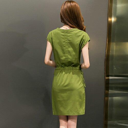 短洋裝 - 五釦抽繩腰綁帶短袖連衣裙【29088】藍色巴黎《3色》現貨+預購 2