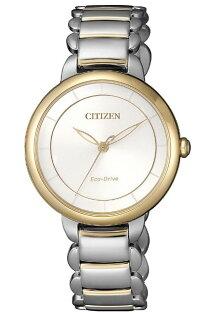 CITIZEN星辰錶EM0674-81AL簡約光動能時光螺旋女錶金+銀31mm