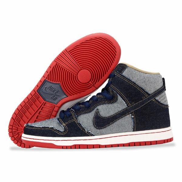 Nike 滑板鞋 SB Dunk High TRD QS 藍 紅 白底 丹寧 牛仔 經典款 運動鞋 男鞋