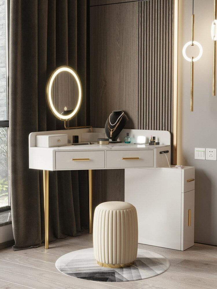 北歐轉角梳妝臺小型現代簡約臥室飄窗化妝臺收納柜一體超小化妝桌