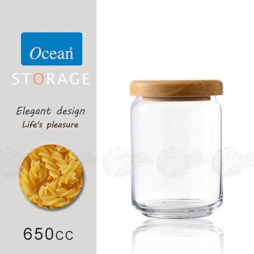 ~賣餐具~ 650ml OCEAN 木蓋儲物罐 玻璃 收納罐 B02523   23016