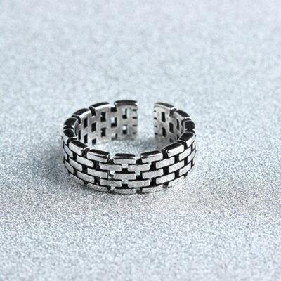 925純銀戒指格子開口戒~寬面 大方 情人節生日 女飾品73gp16~ ~~米蘭 ~