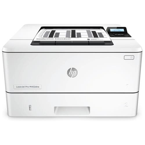 HP LaserJet Pro M402dne Laser Printer - Monochrome - 1200 x 1200 dpi Print - Plain Paper Print - Desktop - 63 ppm Mono Print - A5, Legal, Letter, A4, Custom Size - 350 sheets Standard Input Capacity - 80000 Duty Cycle - Automatic Duplex Print - Ethernet - 0
