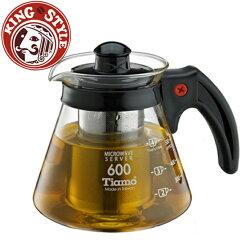 金時代書香咖啡 Tiamo 不鏽鋼濾網 玻璃花茶壺600cc 黑色 HG2216BK