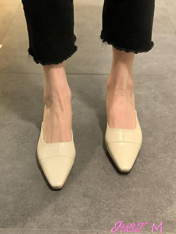 穆勒鞋拖鞋女外穿2021年春季新款網紅百搭時尚包頭半拖韓版粗跟穆勒鞋子 【全館免運】