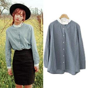 韓版立領條紋薄襯衣