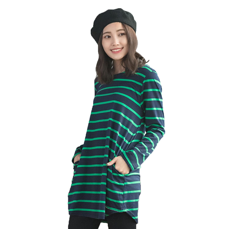 中大尺碼--簡約經典時尚條紋船型領側口袋圓弧下襬長版上衣(紅.綠XL-5L)-A298眼圈熊中大尺碼 1