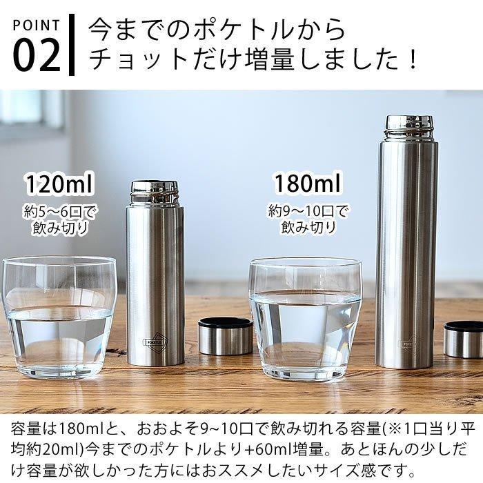 日本【POKETLE】不鏽鋼霧面輕量保溫瓶 180ml