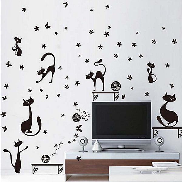 BO雜貨【YV4221】創意可移動壁貼 牆貼 背景貼 時尚組合壁貼 黑色貓咪