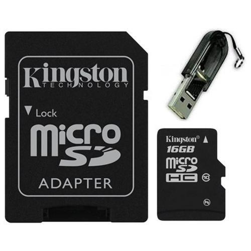 Kingston 16GB microSDHC 45MB/s UHS-I U1 Class 10 16G microSD micro SD SDHC C10 Flash Memory Card SDC10G2/16GB + OEM USB 2.0 Card Reader