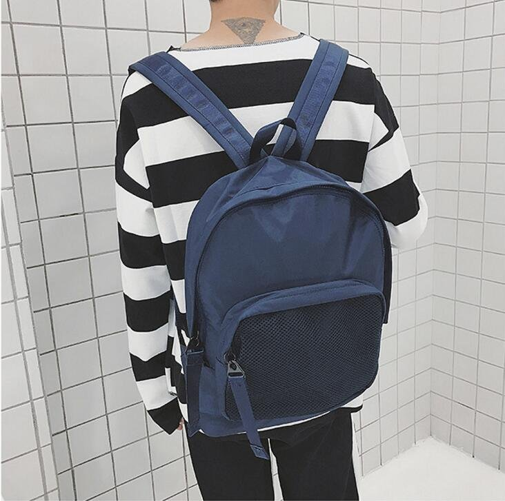 <br/><br/> FINDSENSE品牌 日系 純色 時尚潮流 男 簡約網面口袋 學生包 旅行背包 多用途背包 書包 後背包 肩背包<br/><br/>