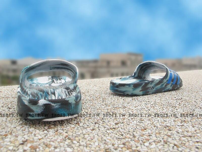 Shoestw【AQ5256】ADIDAS DURAMO SLIDE 拖鞋 一體成型 綠白藍 迷彩 男生 2