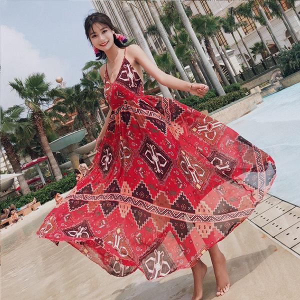 PSMall度假仙連身裙波西米亞長裙洋裝【T368】