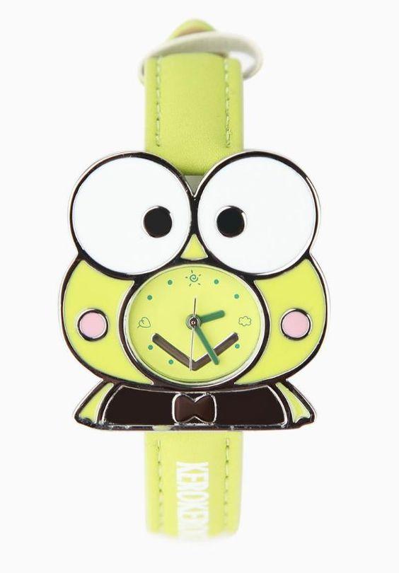 X射線【C090014】大眼蛙Keroppi 手錶(格紋),時鐘/掛鐘/壁鐘/座鐘/鬧鐘/鐘錶/手錶/潛水錶