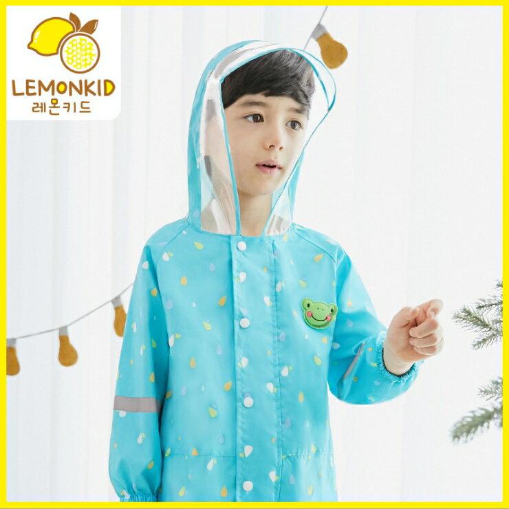 Lemonkid◆ 新款動物貓頭鷹青蛙小熊滿版透明帽沿兒童學生連體式連身雨衣- 湖綠色青蛙