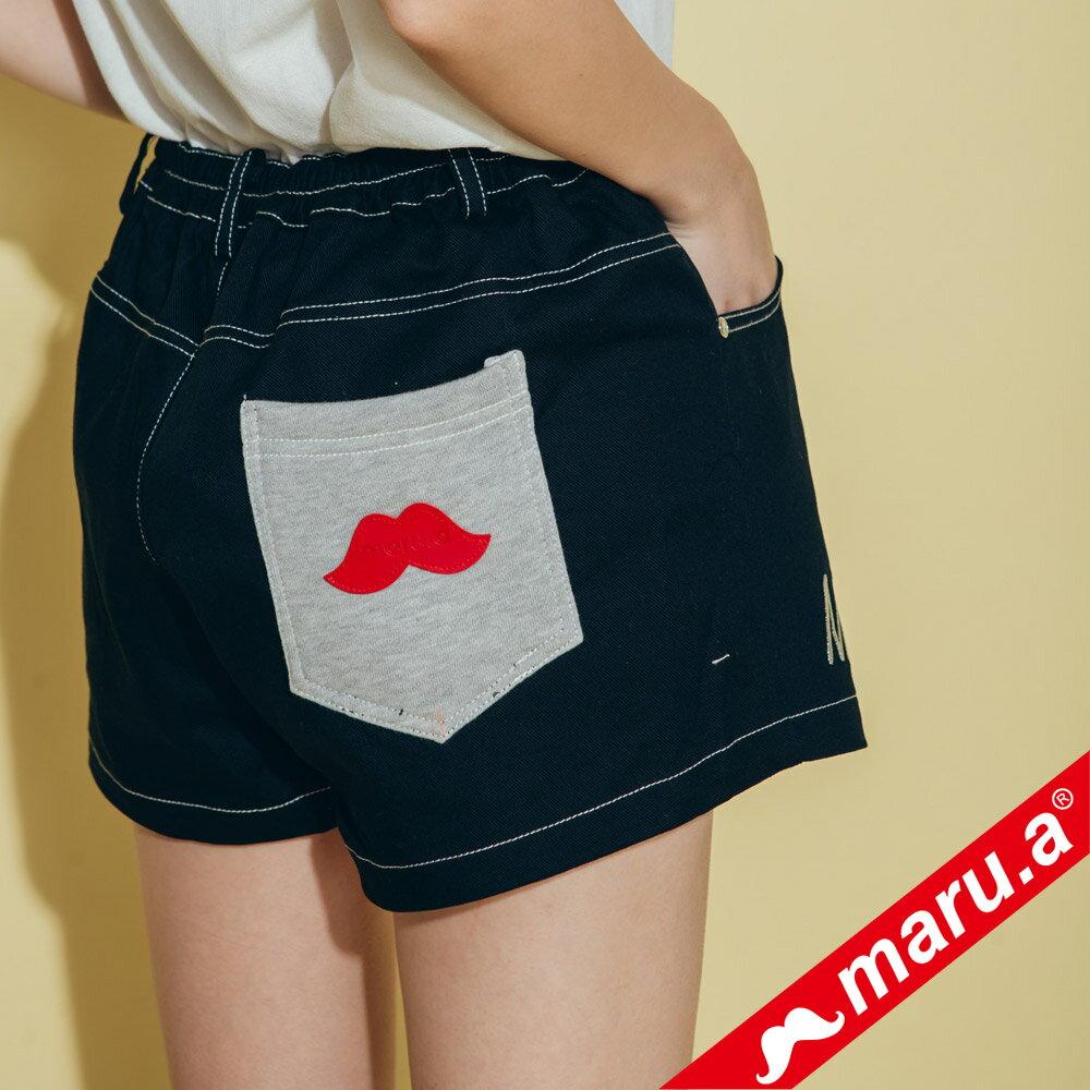 【maru.a】網路限定款*刺繡雙口袋皮標鬆緊帶短褲(2色)8985112 3