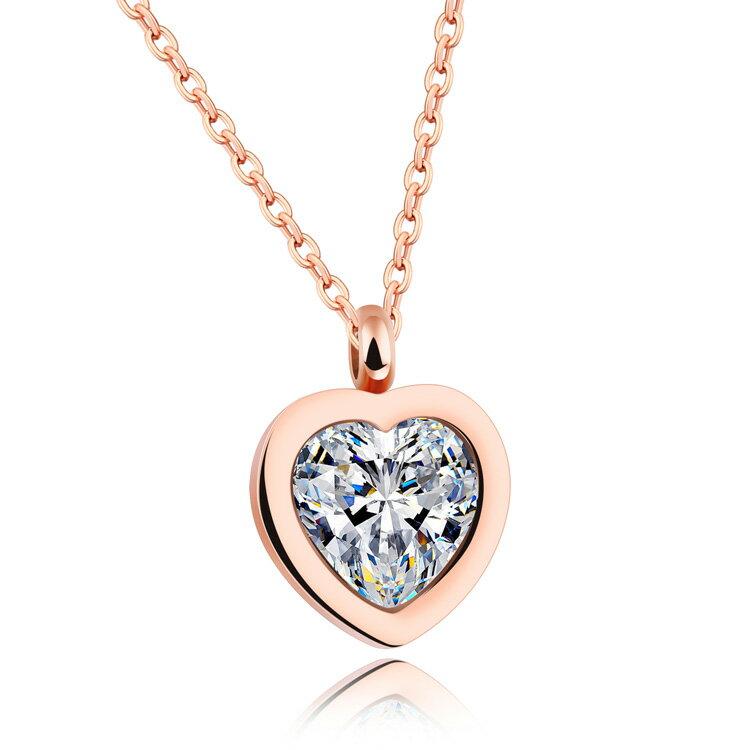 【5折超值價】情人節禮物時尚精美精緻晶瑩剔透愛心鋯石造型女款鈦鋼項鍊