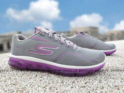 Shoestw【14232GYPR】SKECHERS 健走鞋 GO AIR 2 全新Q彈果凍底 灰紫 透氣 瑜珈鞋墊 女生