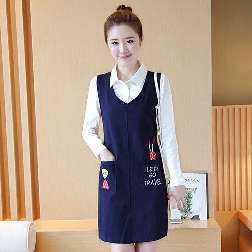 全店65折滿 599 兩件組! 襯衫背心裙連身裙 ^(寶藍色,S^~XL^) ~ ORea
