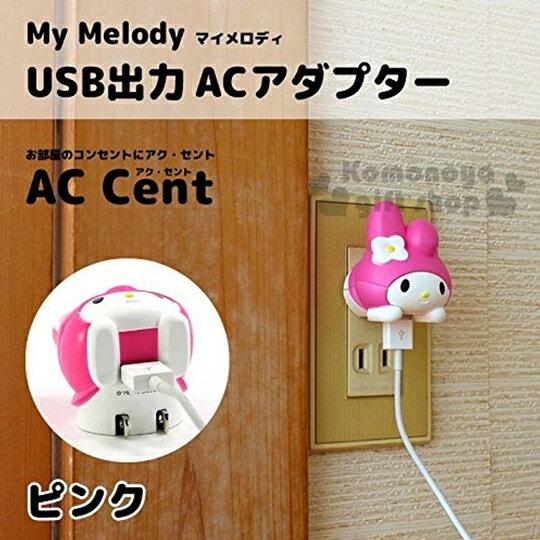 〔小禮堂〕美樂蒂 USB充電插座《粉帽.造型.趴姿》可收納式插頭