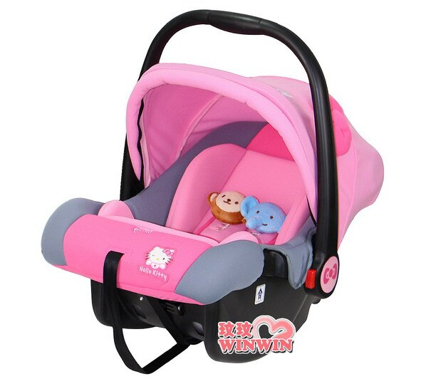 Tonybear Hello Kitty嬰兒手提籃汽車安全座椅K-7820貝殼式人體工學設計