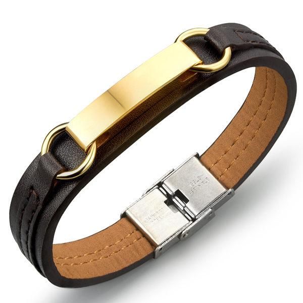 《QBOX》FASHION飾品【L100N962】精緻個性長方經文十字架面扣鈦鋼皮革手鍊手環