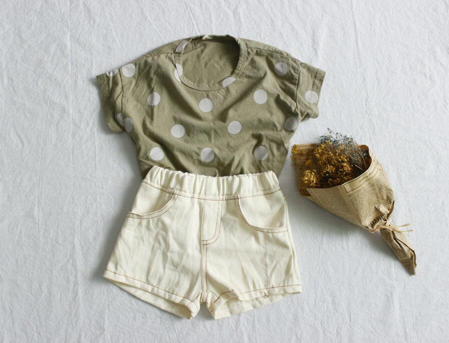 寬鬆點點短袖上衣 上衣 短袖上衣 女童 男童 中性款 點點 橘魔法 現貨 兒童 童裝【p0061206941338】