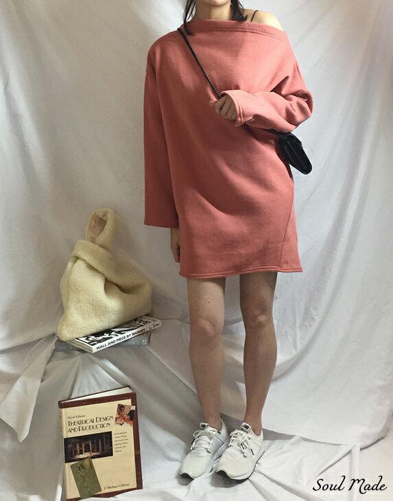 Soul Made - 韓製 平領內刷毛側口袋長版衣 4色 6
