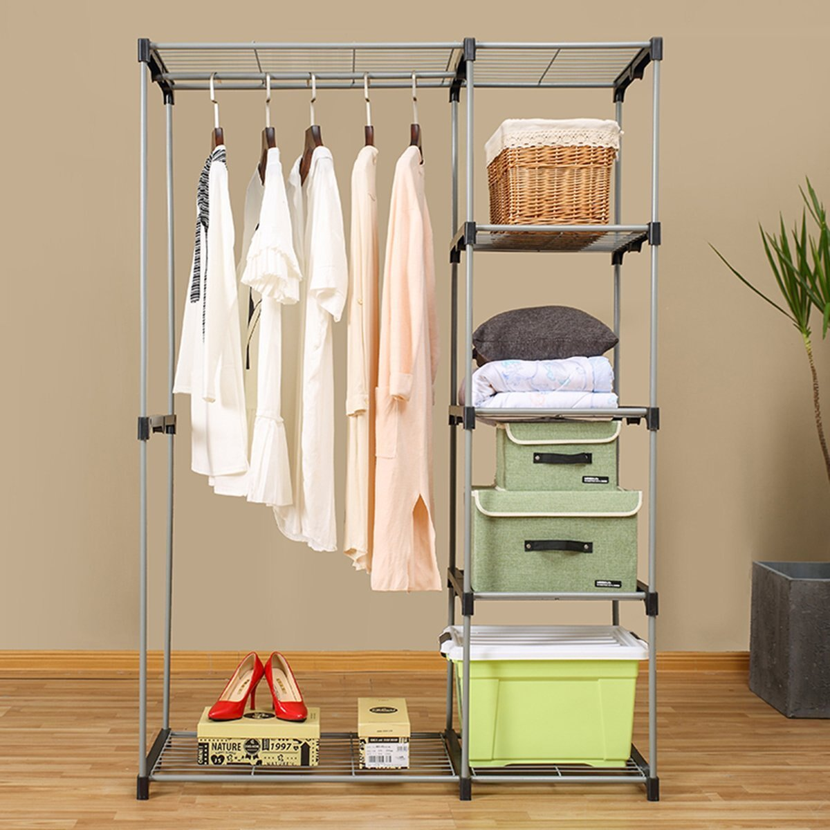 Double Rod Portable Clothes Storage Rack Freestanding Closet Wardrobe With  Steel And Plastic Frame CL68 4
