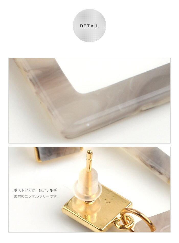 日本CREAM DOT  /  ピアス ニッケルフリー 金属アレルギー 正方形 揺れる ダブルスクエア べっ甲 べっこう 柄 ドロップモチーフ お呼ばれ アクセサリー おしゃれ シーズン 大人 カジュアル 女性  /  qc0375  /  日本必買 日本樂天直送(1290) 3