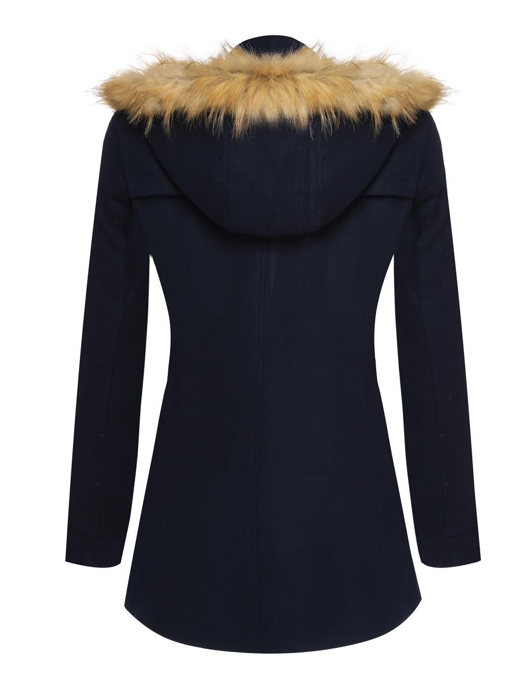 Women Detachable Faux Fur Hooded Long Solid Slim Wool Blend Coat 4