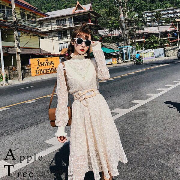蘋果樹AppleTree:AT日韓-韓國,木耳針織高領氣質蕾絲洋裝2色【712045】
